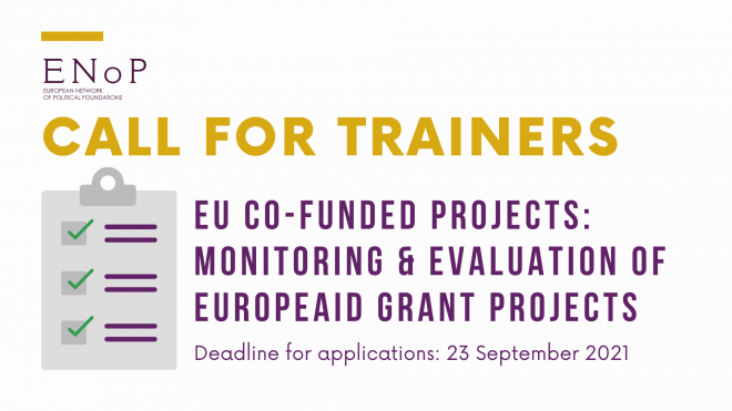 Call for trainers: EU co-funded projects- Monitoring & Evaluation of EuropeAid Grant Projects