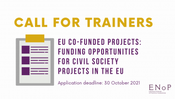 Call for trainers: EU Co-Funded Projects - FUNDING OPPORTUNITIES FOR CIVIL SOCIETY PROJECTS IN THE EU